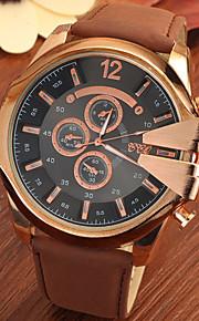 Masculino Relógio Elegante Quartz Relógio Casual Couro Banda Relógio de Pulso Preta / Marrom