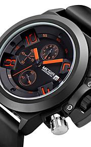 Masculino Relógio de Pulso Quartzo Japonês Calendário / Cronógrafo / Impermeável Silicone Banda Preta marca- MEGIR
