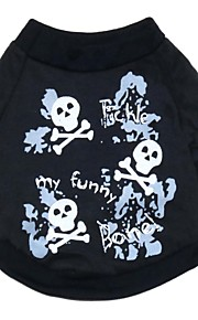 Gatos / Perros Camiseta Negro Verano / Primavera/Otoño Cráneos Moda-Pething®