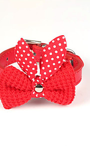 Cat / Dog Collar Adjustable/Retractable / Bowknot Red / Black / Blue / Pink / Yellow / Purple PU Leather