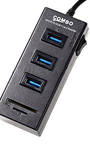 USB 2.0 de 3 puertos / interfaz USB lector de tarjetas concentrador SD / TF combo 8.5 * 1.5 * 2