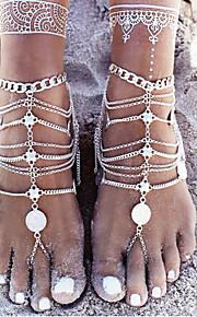 ét stykke mode mønt vedhæng sølv ankel armbånd kæde vintage fod kæde sandaler anklet for kvinder