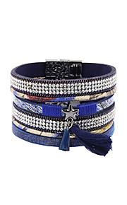 Charm-armbånd / Wrap Armbånd / Læder Armbånd 1pc,Sølv Armbånd Frynsetip(s) / Moderigtig / Bohemia StylePerle / Krystal / Legering / Læder