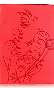 Body collant Support de Carte / portefeuille / Other Fleur Cuir PU Doux Embossed leather Couverture de cas pour Apple iPad Air