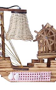 Lámpara de mesa velero de madera con caja de música