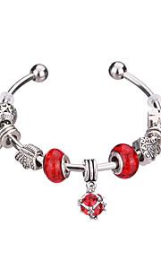 Charm-armbånd / Bangles / Manchetarmbånd / Strand Armbånd / Silver Bracelets 1pc,Pudebetræk / Rosa / Rød / Blå ArmbåndHoldbar /