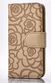 Hel kropp plånbok / Korthållare / med stativ Blomma PU-läder Mjuk Roses Embossing Cell Phone Case , Leather Wallet With Card Slot Case