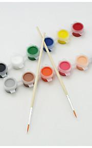 Pintura Pincéis,Plástico Vermelho / Preto / Azul / Amarelo / Verde / Cores Aleatórias