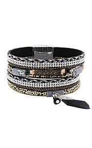 Charm-armbånd / Wrap Armbånd / Læder Armbånd 1pc,Sølv Armbånd Moderigtig / Bohemia Style Legering / Læder / Akryl / Rhinsten / Fjer / Stof