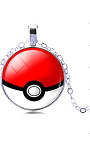 Unisex Pocket Monster Poke Ball Cartoon Pattern Alloy Pendant Necklace