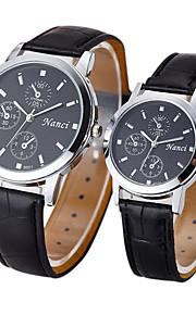Casal Relógio de Moda Quartz Relógio Casual Couro Banda Preta / Marrom