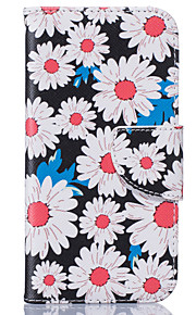 White Chrysanthemum Pattern Card Phone Holster for iPhone 5/5S/SE/6/6S/6 Plus/6S Plus