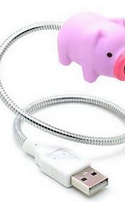 cerdo rosado creativa USB LED de luz nocturna