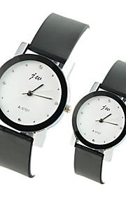 Casal Relógio de Moda Quartzo Relógio Casual PU Banda Preta Branco Preto