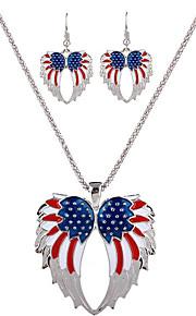 kan polly USA og Europa og USA og USA flag engel fløj halskæde øreringe sæt
