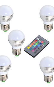 3W E14 / GU10 / E26/E27 LEDボール型電球 A50 1 ハイパワーLED 200 lm RGB 明るさ調整 / リモコン操作 / 装飾用 V 5個