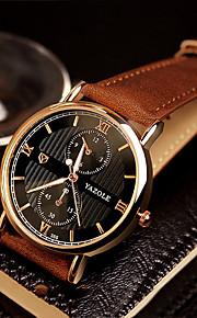 Heren Modieus horloge / Polshorloge Kwarts / Echt leer Band Cool / Vrijetijdsschoenen Zwart / Bruin Merk