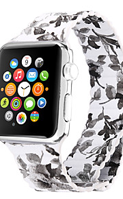 Peony pattern Genuine Leather Black Leather Leather Loop For Apple Watch 38mm / 42mm