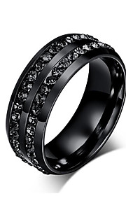 Ring/Band Rings/Stainless Steel Rock Crystal Men's Rings Black Jewelry