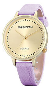 Women's Simple Fashion Gold Case PU Leather Strap Quartz Wrist Watch