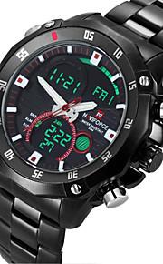 Masculino Relógio de Pulso Quartzo Japonês LED / Calendário / Cronógrafo / Impermeável / Dois Fusos Horários / alarme Aço Inoxidável Banda