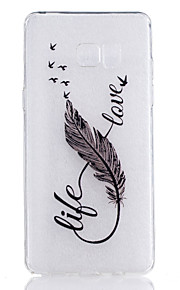 TPU Material 8 Characters Feather Pattern Painted Relief Phone Case for Samsung Galaxy Note 7