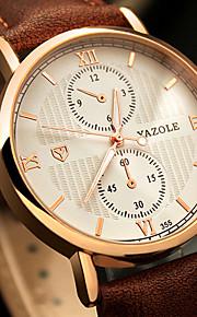 Heren Modieus horloge / Polshorloge Kwarts / Echt leer Band Vrijetijdsschoenen / Cool Zwart / Bruin Merk