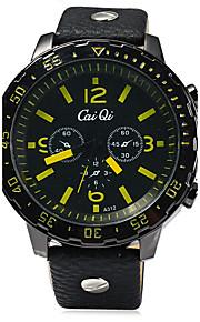 Heren Modieus horloge Kwarts Compass Leer Band Cool Zwart Merk