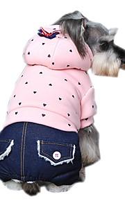 Gatos / Cães Casacos / Camisola com Capuz / Macacão / Calças / Jeans Verde / Púrpura / Rosa Roupas para Cães Inverno / Primavera/Outono