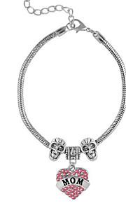 Bracelet Chain Bracelet Charm Bracelet Silver-Stone Alloy Rhinestone Mom Love Bracelet Adjustable Birthday Gift Jewelry