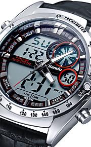 Masculino Relógio Militar Digital / Quartzo Japonês Calendário / alarme / Noctilucente Couro Banda Pendente Preta marca