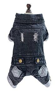 Black Jeans Cotton Thick Jumpsuit for Pet Dogs Dog Clothes