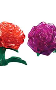 Quebra-cabeças Quebra-Cabeças 3D / Quebra-Cabeças de Cristal Blocos de construção DIY Brinquedos Rose ABS VermelhoModelo e Blocos de