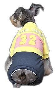 Gatos / Perros Abrigos / Mono / Pantalones Rojo / Amarillo / Azul Ropa para Perro Invierno / Primavera/Otoño Letra y NúmeroVacaciones /