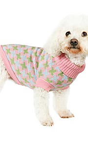Gatos / Cães Fantasias / Casacos / Súeters Verde / Azul / Rosa Roupas para Cães Inverno / Primavera/Outono GeométricoFofo / Fantasias /
