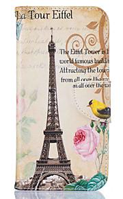 För Plånbok / Korthållare / med stativ / Mönster fodral Heltäckande fodral Eiffeltornet Hårt PU-läder SamsungS7 edge / S7 / S6 edge / S6