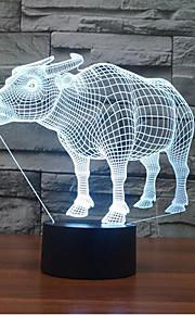 buffalo berøre dimming 3D LED nattlys 7colorful dekorasjon atmosfære lampe nyhet belysning jul lys