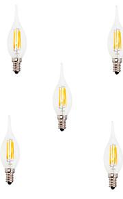 5pcs HRY 6W E14 LED Filament Bulbs CA35 6 COB 550LM Warm / Cool White Edison Retro Glass(AC220-240V)
