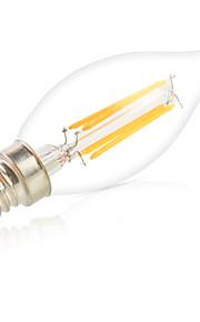 HRY Dimmable 6W E14 LED Filament Bulbs CA35 6 COB 550LM Warm/ Cool White Bulbs Lights Lampara(220V)