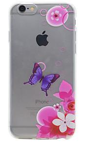 For iPhone 7 etui / iPhone 6 etui / iPhone 5 etui Transparent / Præget / Mønster Etui Bagcover Etui Sommerfugl Blødt TPU AppleiPhone 7