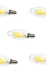 5pcs HRY C35 6W E14 LED Filament Bulbs 6 COB 550LM Warm/ Cool White Candle Light Lamp(AC220-240V)