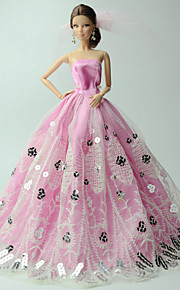 Fest & Aften Kjoler Til Barbie Doll Lyserød Trykt mønster Kjoler