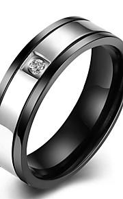 Ringe Bryllup / Party / Daglig / Afslappet / Sport Smykker Rustfrit Stål / Zirkonium Herre Ring 1pc,7 / 8 / 9 / 10 Sort