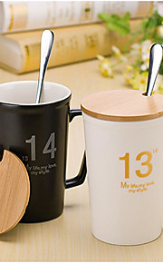 Creative Personality With Cover New Bone Porcelain Ceramic Cup
