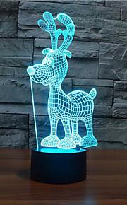 jule hjort berøre dimming 3D LED nattlys 7colorful dekorasjon atmosfære lampe nyhet belysning jul lys