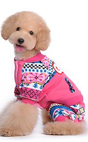 Psy Kombinezon Niebieski / Różowy Ubrania dla psów Zima / Wiosna/jesień Litera i numer Urocze / Codzienne /