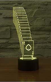 spillkort berøre dimming 3D LED nattlys 7colorful dekorasjon atmosfære lampe nyhet belysning jul lys