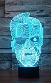 Schwarzenegger berøre dimming 3D LED nattlys 7colorful dekorasjon atmosfære lampe nyhet belysning jul lys