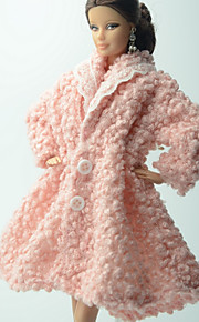 Casual More Accessories For Barbie Doll Pink Solid Coat