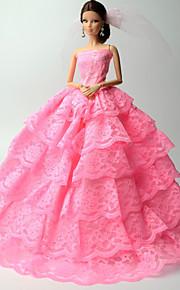 Princess Dresses For Barbie Doll Pink Lace Dresses